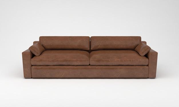 Коричневый диван трехместный мебель вид спереди 3d визуализация