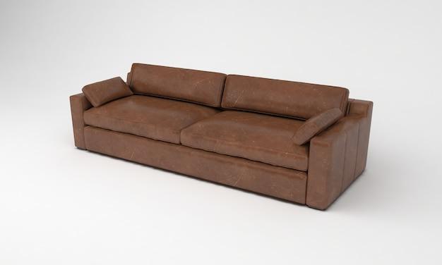 Коричневый диван трехместный боковой вид мебель 3d рендеринг