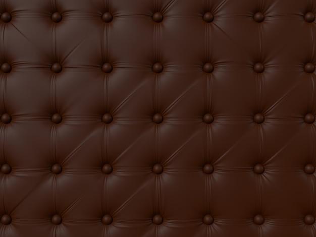 ボタン付きの茶色のソファの室内装飾。パターンや背景の革の質感。