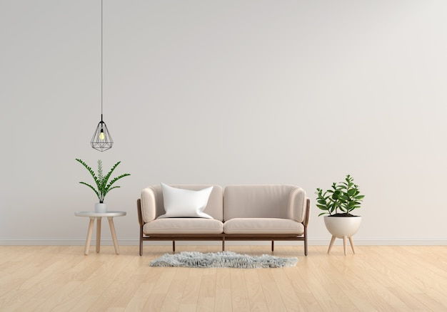 Brown sofa in white living room