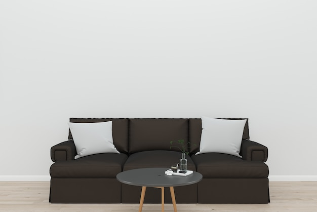 Brown sofa white wall old wooden floor black table background texture template