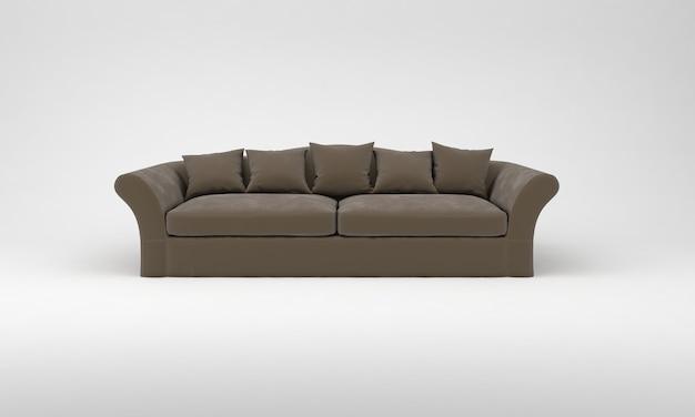 Коричневый диван с подушками мебель вид спереди 3d рендеринг