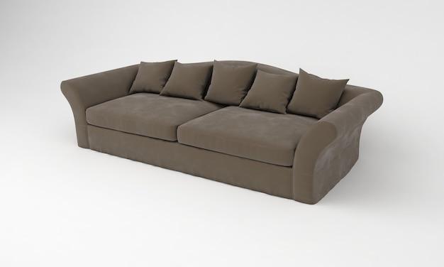Коричневый диван с подушками сбоку просмотр мебели 3d рендеринг