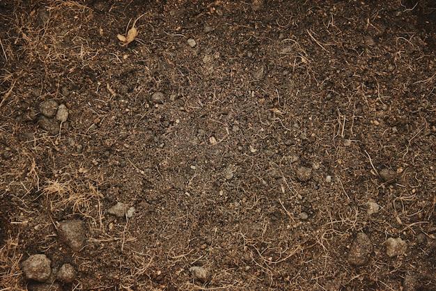 원예를 위한 갈색 토양 배경