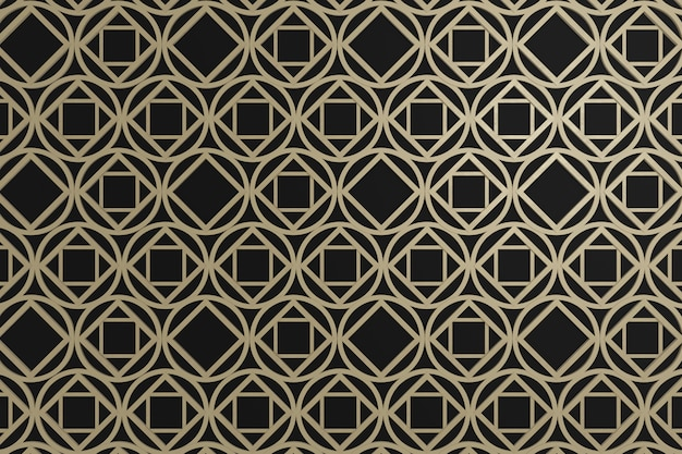 Brown square and circle graphic on black backgroun, 3d wall for wallpaper of background or wall decoration or backdrop.