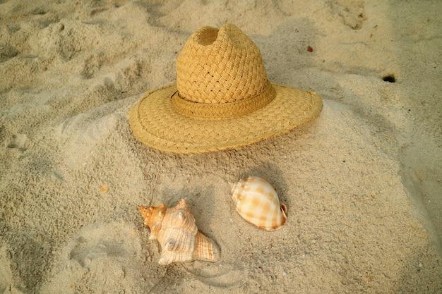 2種類の貝殻と砂浜の茶色の麦わら帽子