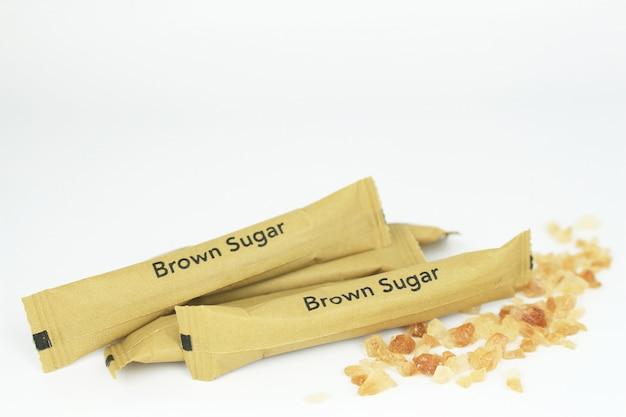 Brown sugar bag on white background