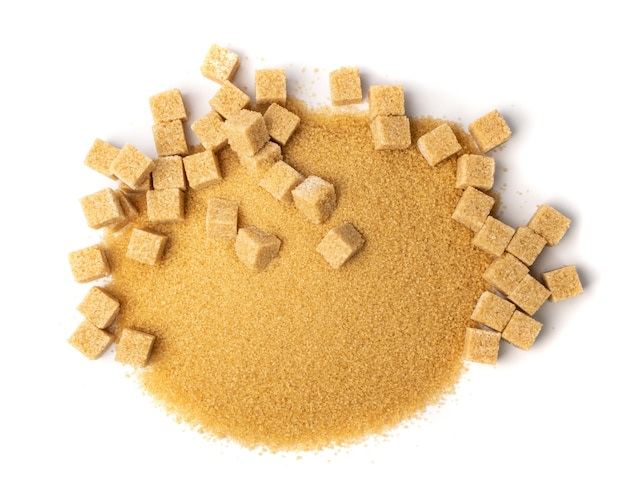 Brown sugar isolated top view