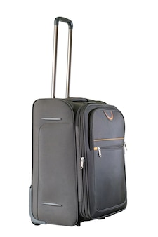 クリッピングパスで白に分離された茶色のスーツケース。