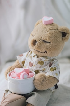 Brown teddy bear holding pink heart shape marshmallow
