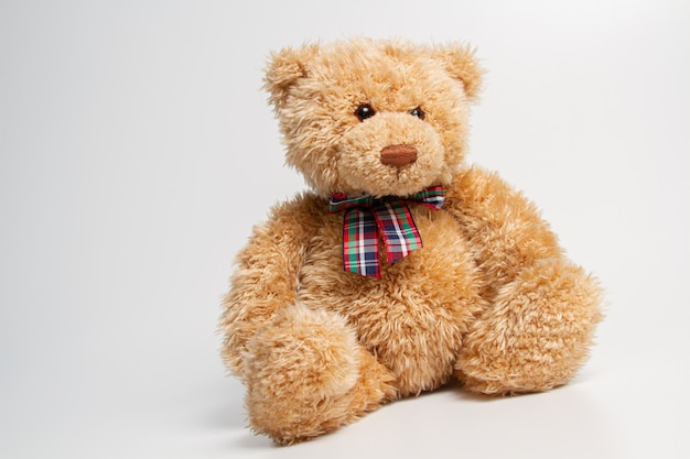 Brown teddy bear isolated on white background