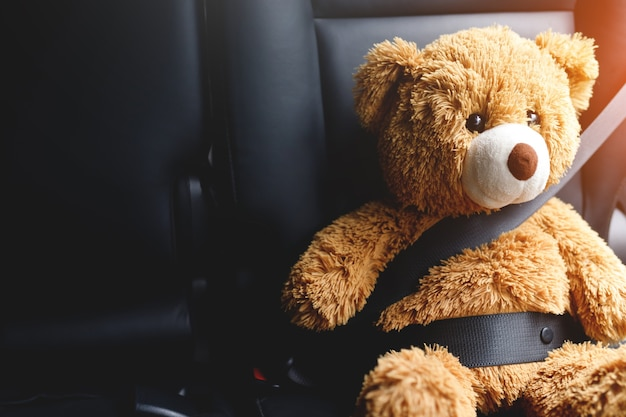 Brown teddy bear wearing car seat belt