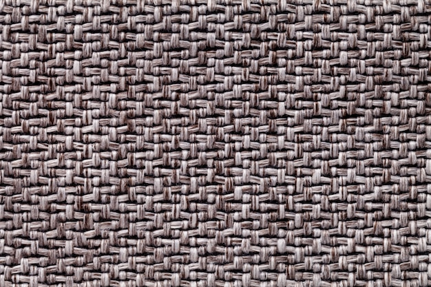 Brown vintage fabric with woven texture  textile macro background,