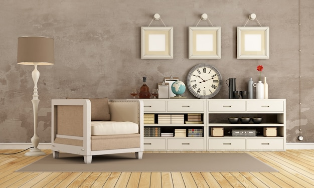 Brown vintage room with armchair and sideboard with decor objects. 3d rendering