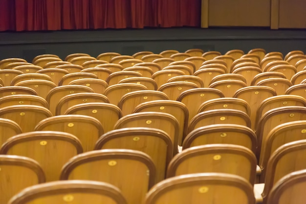 Brown vintage seats armchairs in theater