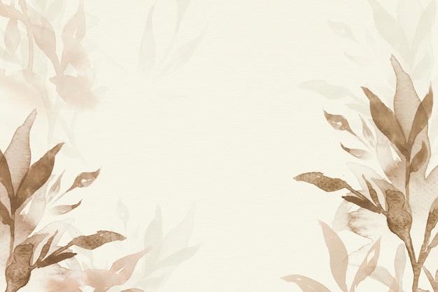 갈색 수채화 잎 배경 미적 가을 시즌