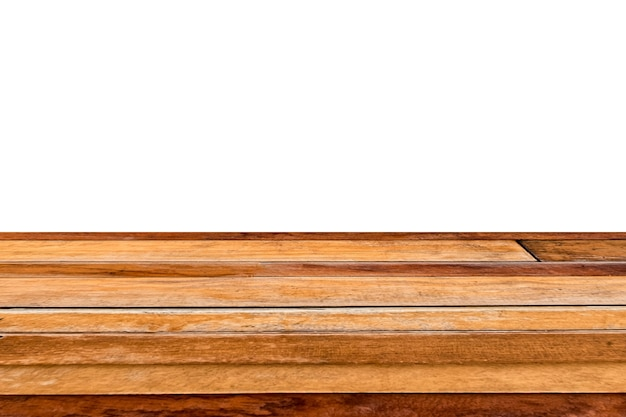 Brown weathered hardwood plank table top on white background. montage product display