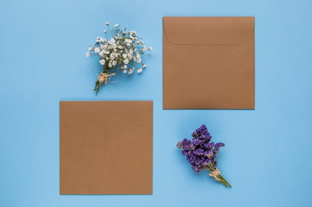 Brown wedding invitations with blue background