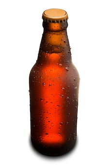 Brown wet bottle of beer isolated on white background