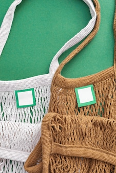 Brown and white color mesh eco bags