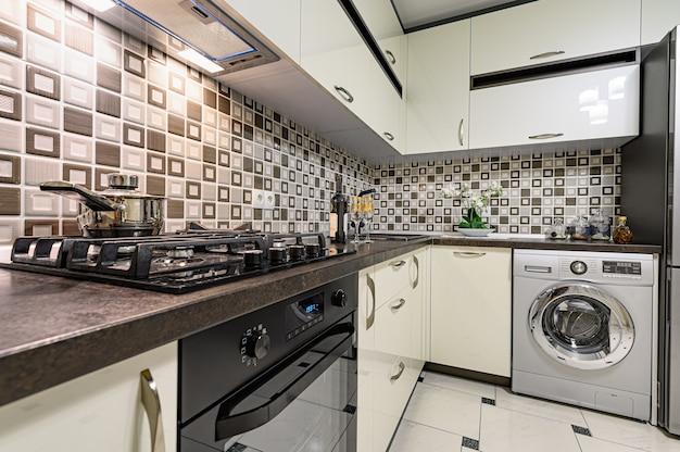 Brown and white modern kitchen interior