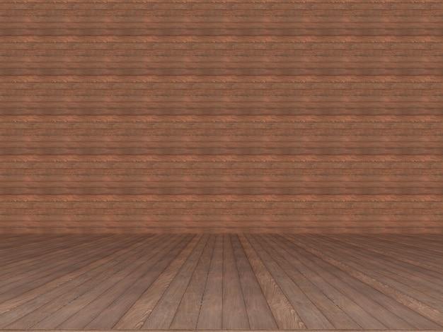 갈색 나무 벽과 바닥 질감 배경입니다. 3d 렌더링
