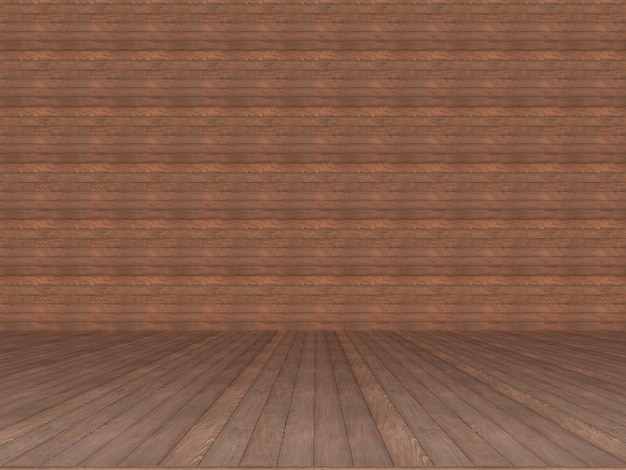 Brown wood wall and floor texture background. 3d render