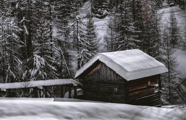 雪の中に茶色の木造の納屋
