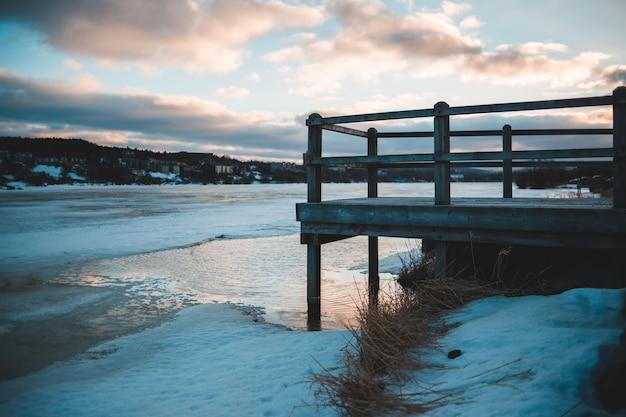 Brown wooden beach dock