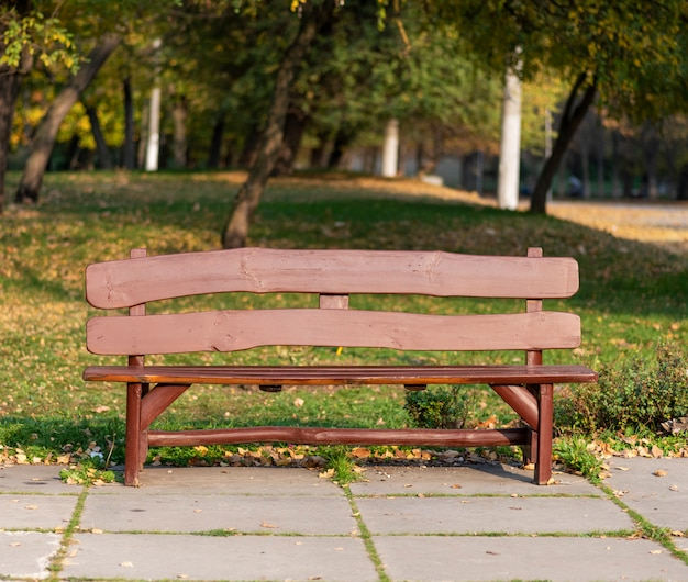 Brown wooden bench in city park