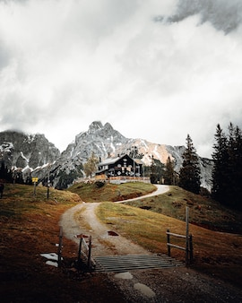 昼間の白い空の下の山の近くの茶色のフィールドに茶色の木製ベンチ
