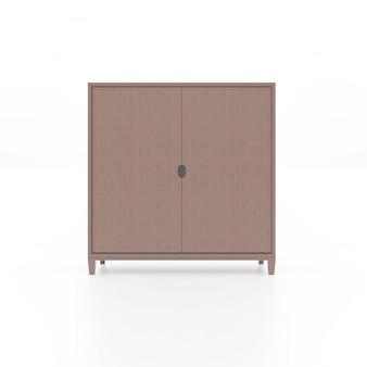 Коричневый деревянный шкаф изолированный