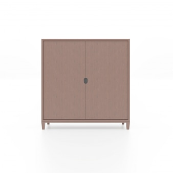 Brown wooden cabinet isolated