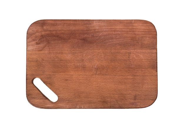 Brown wooden cutting board with a slot for holding