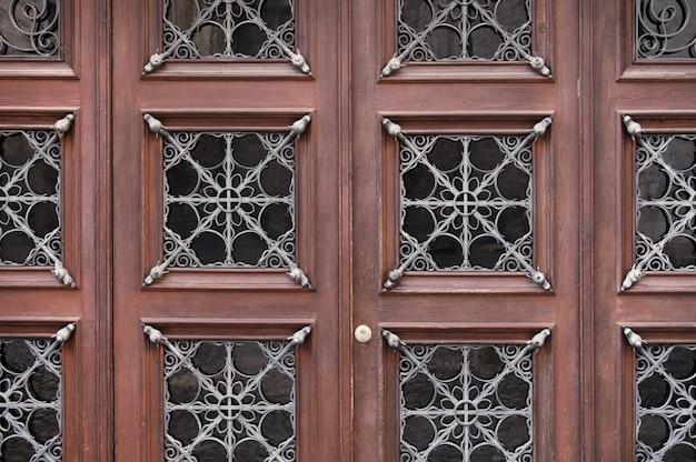 Brown wooden door background texture