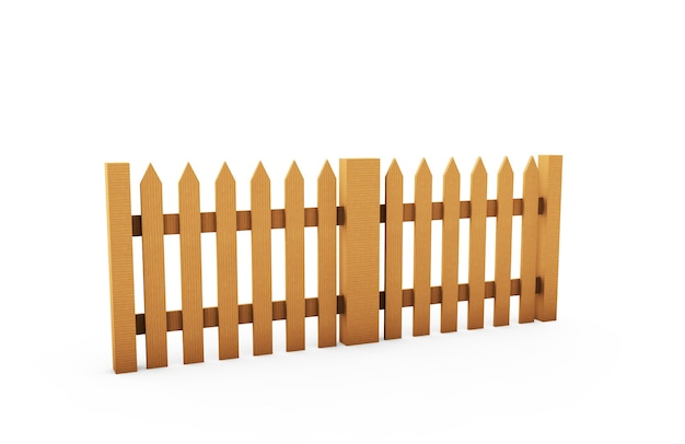 Brown wooden fence isolated on white backgroun