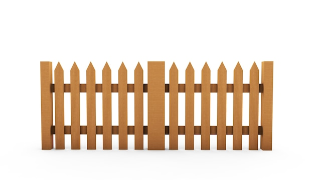 Brown wooden fence isolated on white