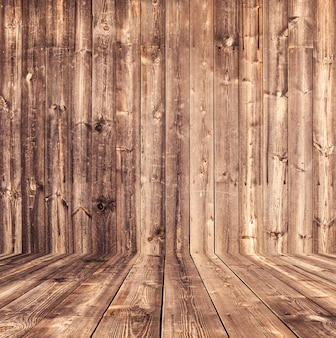 Коричневый деревянный пол и стены текстуры древесины фон