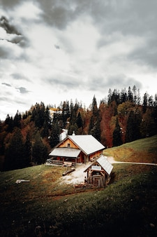 Brown wooden house near green trees under cloudy sky during daytime