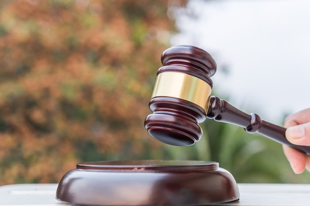 Brown wooden judges gavel