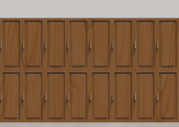 Brown wooden lockers row background.