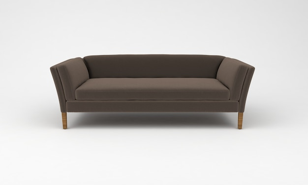 Коричневый деревянный диван, вид спереди, мебель, 3d визуализация