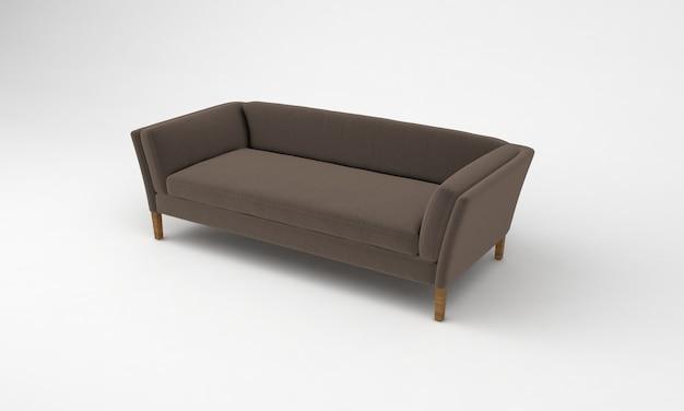 Коричневый деревянный диван, вид сбоку, мебель, 3d рендеринг