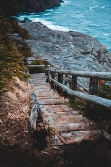Коричневая деревянная лестница возле водоема