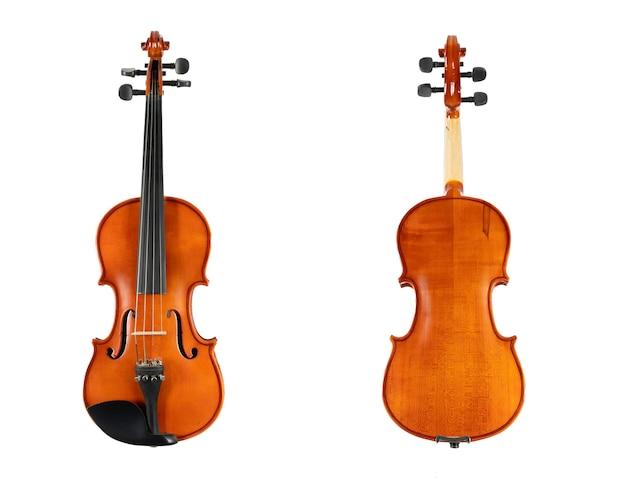 Коричневая деревянная скрипка, изолированные на белом фоне Premium Фотографии