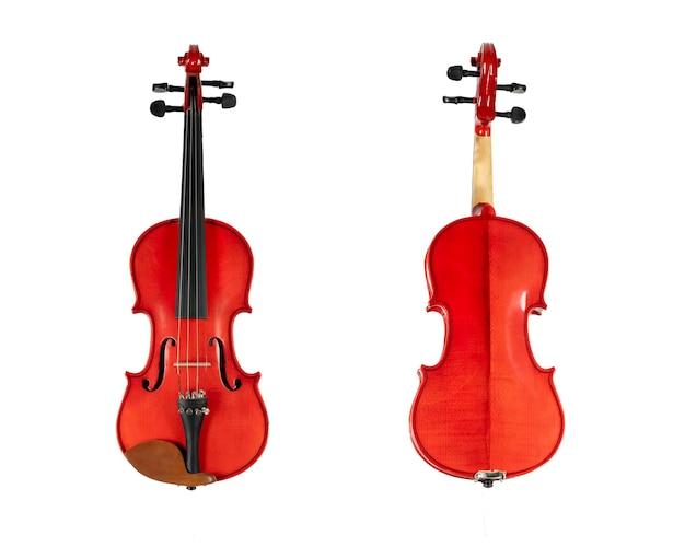 Коричневая деревянная скрипка, изолированные на белом фоне