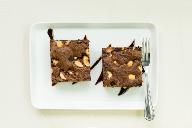 Brownies  with almond in restaurant.