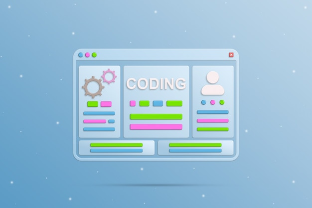 Browser window with coding elements and user profile 3d