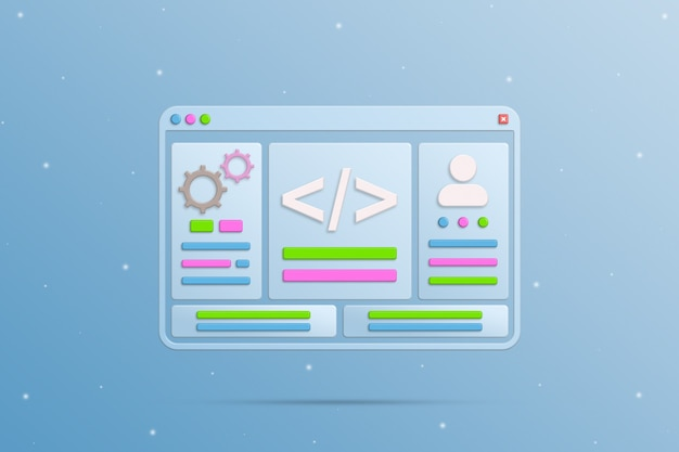 Browser window with programming icon elements 3d
