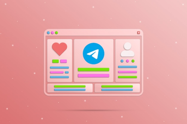 Окно браузера с социальными элементами телеграмм сети пользовательский социальный профиль и активность 3d